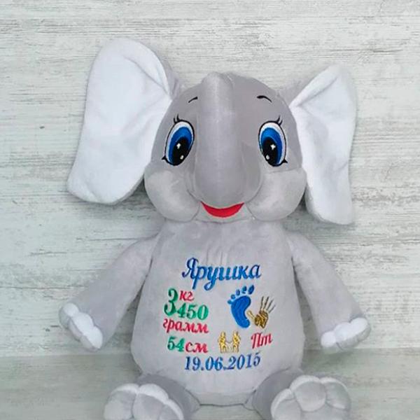 Слоник с вышивкой на животе