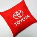 Подушка для авто красная с вышивкой