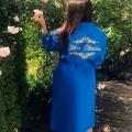 Темно-синий вафельный халат с вышивкой
